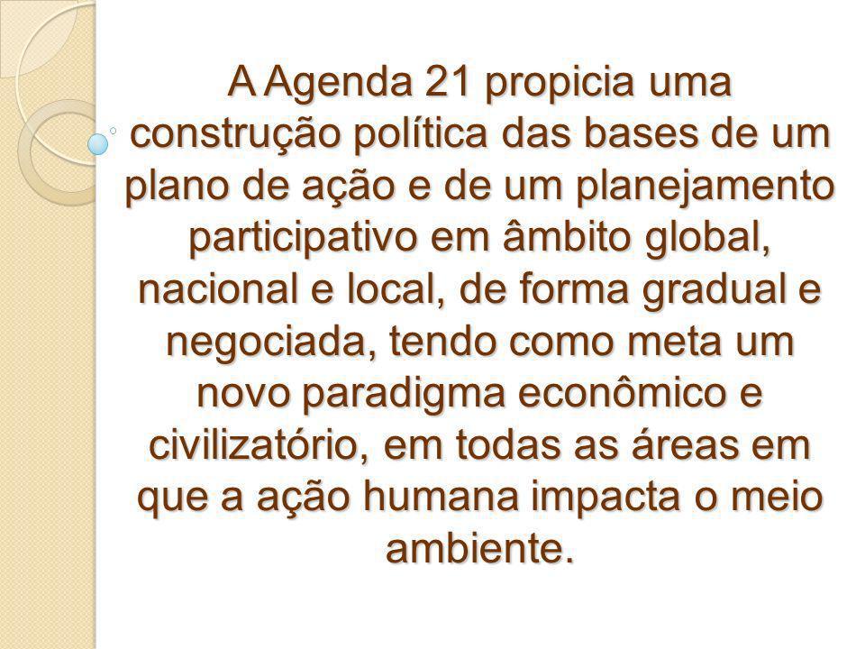 A Agenda 21 propicia uma construção política das bases de um plano de ação e de um planejamento participativo em âmbito global, nacional e local, de f