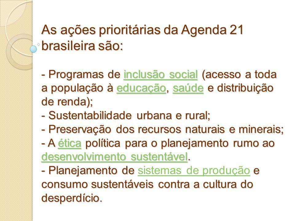 As ações prioritárias da Agenda 21 brasileira são: - Programas de inclusão social (acesso a toda a população à educação, saúde e distribuição de renda