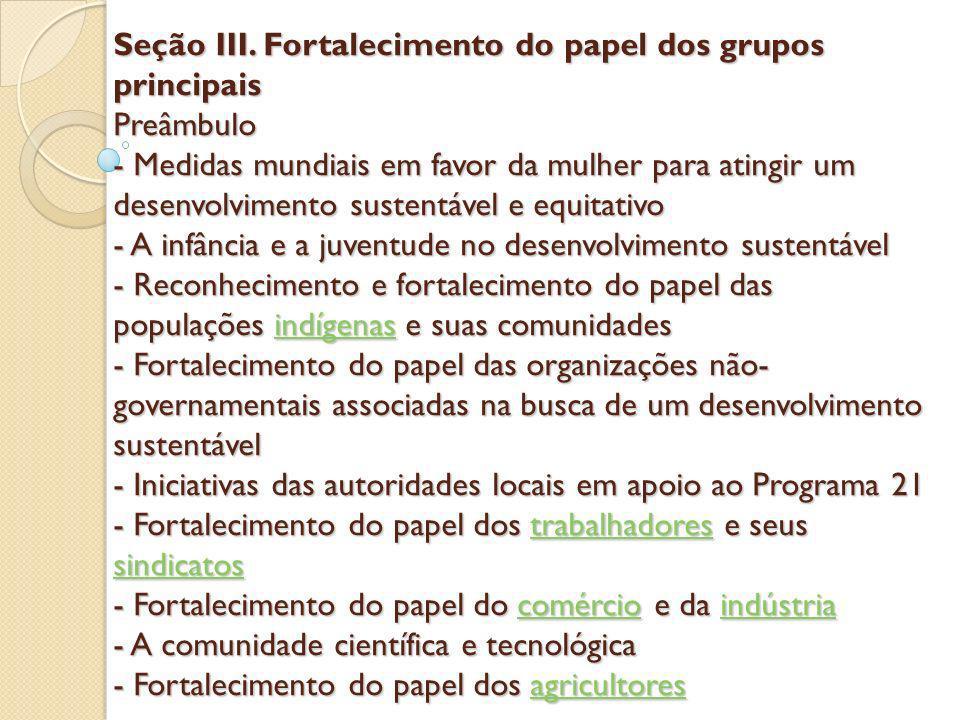 Seção III. Fortalecimento do papel dos grupos principais Preâmbulo - Medidas mundiais em favor da mulher para atingir um desenvolvimento sustentável e