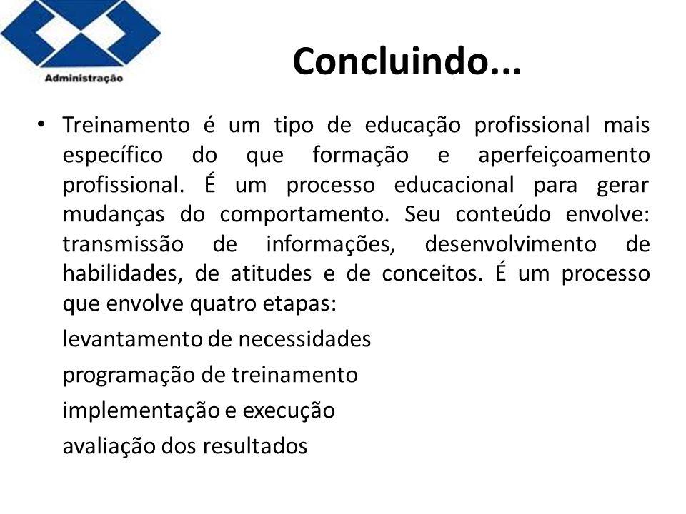 Parte 2 Concluindo... Treinamento é um tipo de educação profissional mais específico do que formação e aperfeiçoamento profissional. É um processo edu
