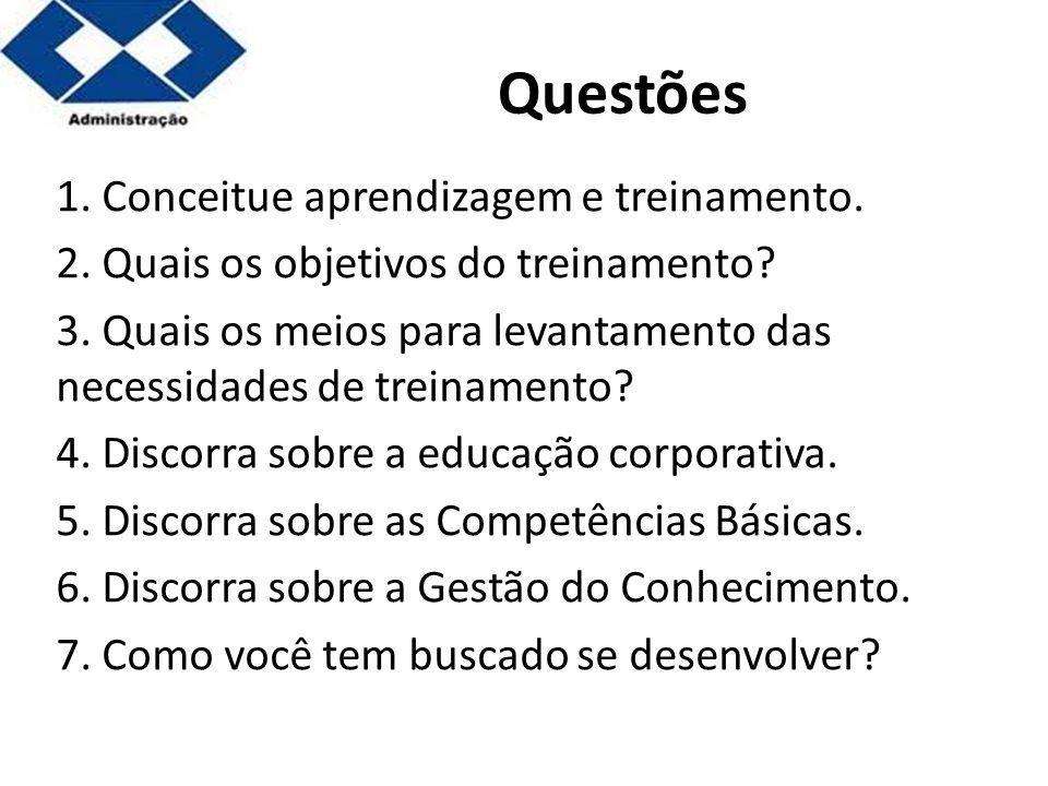 Parte 2 Questões 1. Conceitue aprendizagem e treinamento. 2. Quais os objetivos do treinamento? 3. Quais os meios para levantamento das necessidades d
