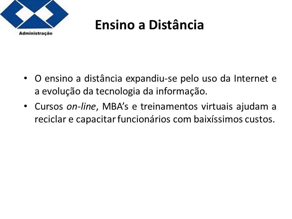 Parte 2 Ensino a Distância O ensino a distância expandiu-se pelo uso da Internet e a evolução da tecnologia da informação. Cursos on-line, MBAs e trei