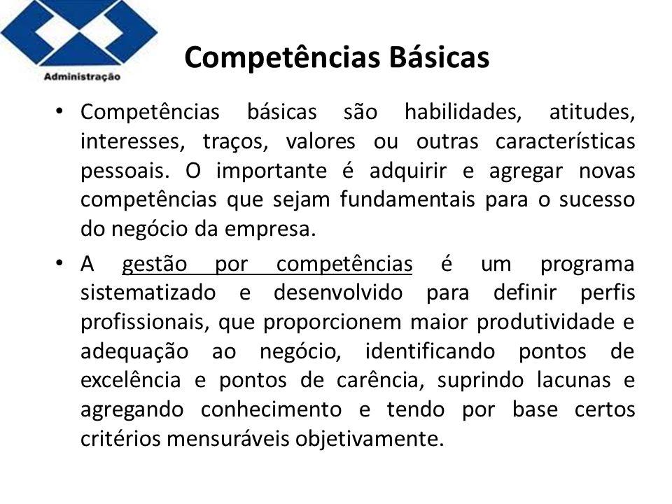 Parte 2 Competências Básicas Competências básicas são habilidades, atitudes, interesses, traços, valores ou outras características pessoais. O importa