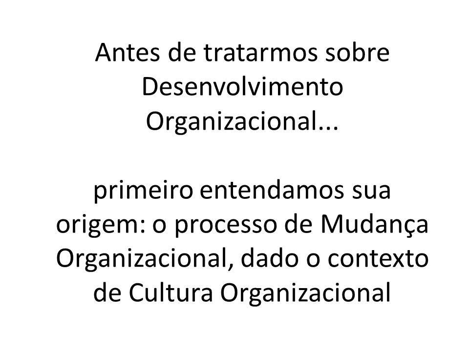 Antes de tratarmos sobre Desenvolvimento Organizacional... primeiro entendamos sua origem: o processo de Mudança Organizacional, dado o contexto de Cu