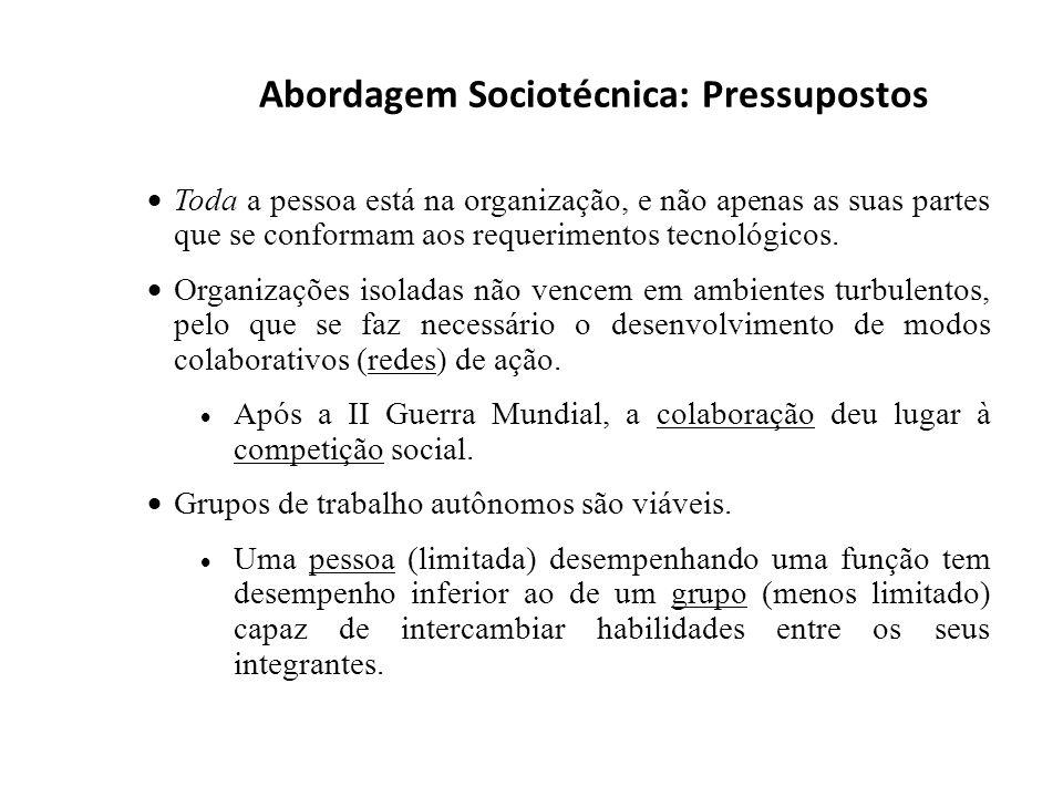 Abordagem Sociotécnica: Pressupostos Toda a pessoa está na organização, e não apenas as suas partes que se conformam aos requerimentos tecnológicos. O