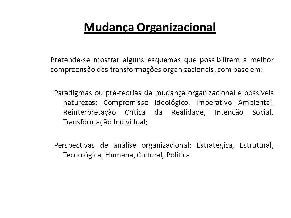NATUREZA DA MUDANÇA OBJETIVO DA MUDANÇA PREFERÊNCIA PRIMORDIAL PARA ANÁLISE OBJETIVO DA ANÁLISE COMPROMISSO IDEOLÓGICO IDEALIZAÇÃO Comprometer as pessoas com o ideal administrativo IDEAIS E PRINCÍPIOS Sobre as pessoas e a organização DISCERNIMENTO Saber a diferença entre a realidade e o ideal administrativos IMPERATIVO AMBIENTAL REDIRECIONAMENTO Readaptar a organização às necessidades pro- vocadas pelo ambiente FATOS Comportamento organizacional e individual EXPLICAÇÃO Causas e regularidades atrás da desordem aparente REINTERPRE- TAÇÃO CRÍTICA DA MUDANÇA EMANCIPAÇÃO Recriar um novo significado organizacional COMUMUNICAÇÃO E EST.
