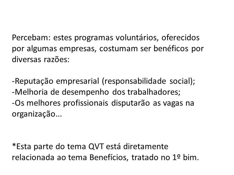 Percebam: estes programas voluntários, oferecidos por algumas empresas, costumam ser benéficos por diversas razões: -Reputação empresarial (responsabi