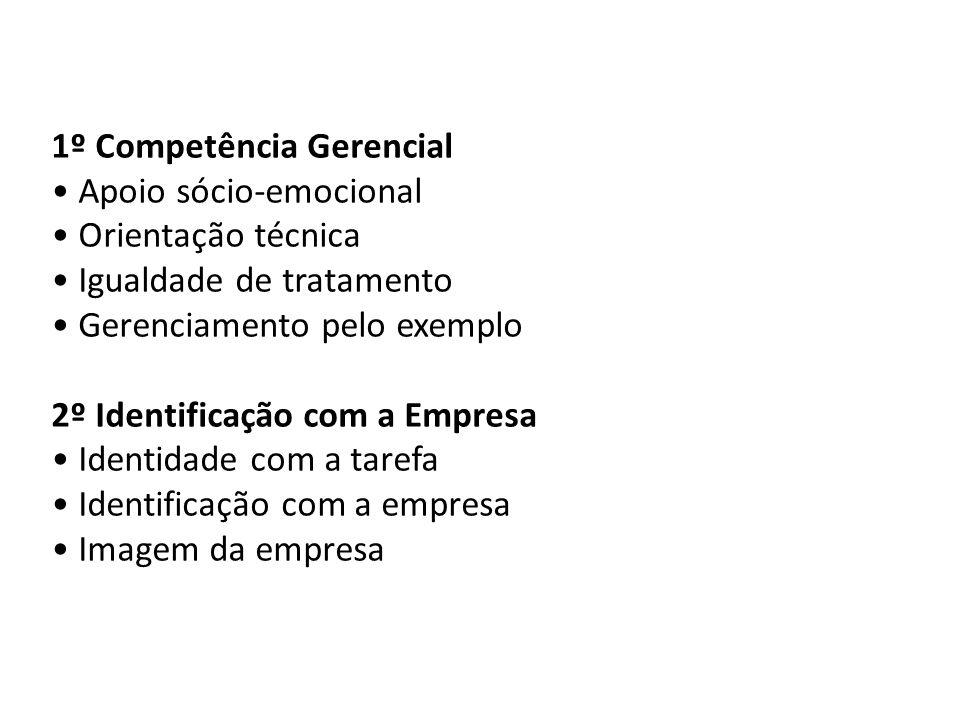 1º Competência Gerencial Apoio sócio-emocional Orientação técnica Igualdade de tratamento Gerenciamento pelo exemplo 2º Identificação com a Empresa Id