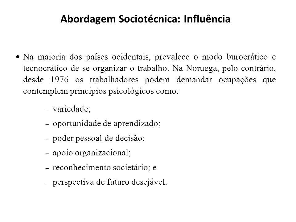 Abordagem Sociotécnica: Influência Na maioria dos países ocidentais, prevalece o modo burocrático e tecnocrático de se organizar o trabalho. Na Norueg