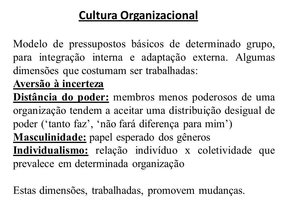 Cultura Organizacional Modelo de pressupostos básicos de determinado grupo, para integração interna e adaptação externa. Algumas dimensões que costuma