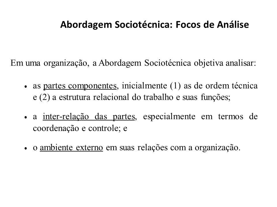 Abordagem Sociotécnica: Focos de Análise Em uma organização, a Abordagem Sociotécnica objetiva analisar: as partes componentes, inicialmente (1) as de