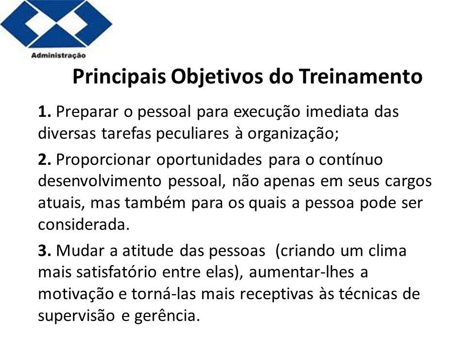 Parte 2 Principais Objetivos do Treinamento 1. Preparar o pessoal para execução imediata das diversas tarefas peculiares à organização; 2. Proporciona
