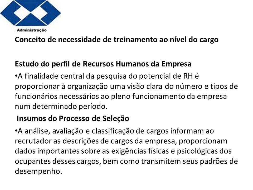 Parte 2 Conceito de necessidade de treinamento ao nível do cargo Estudo do perfil de Recursos Humanos da Empresa A finalidade central da pesquisa do p