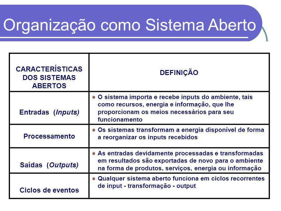 CARACTERÍSTICAS DOS SISTEMAS ABERTOS DEFINIÇÃO Entradas (Inputs) O sistema importa e recebe inputs do ambiente, tais como recursos, energia e informaç