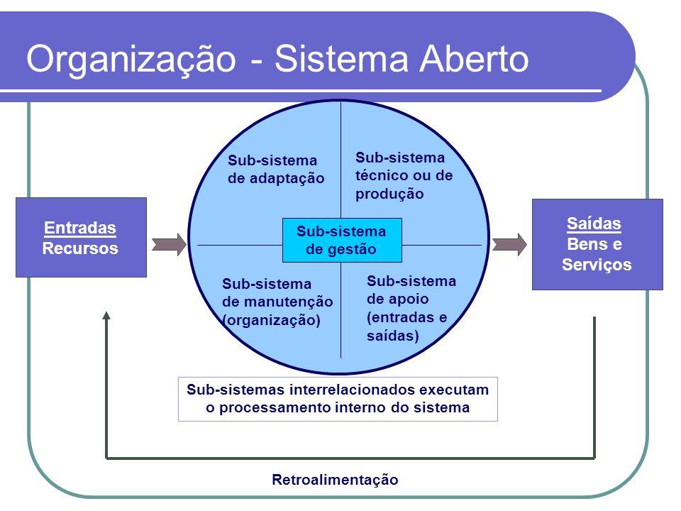 Organização - Sistema Aberto Entradas Recursos Saídas Bens e Serviços Retroalimentação Sub-sistemas interrelacionados executam o processamento interno