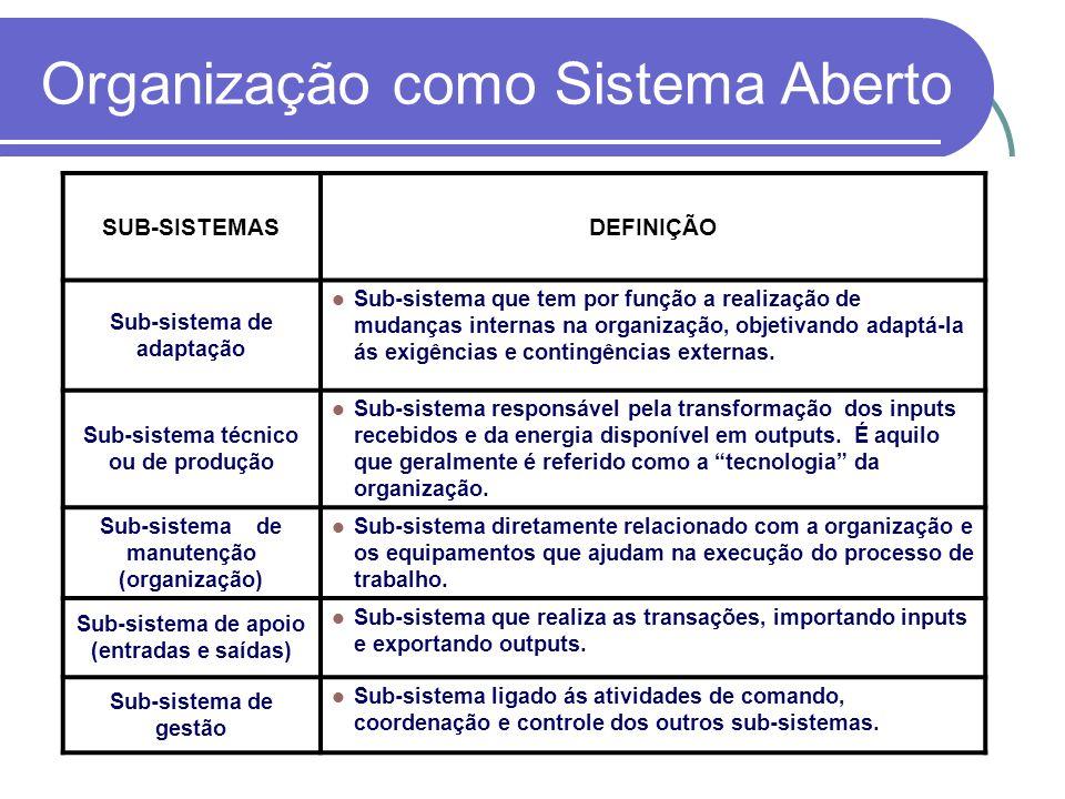 SUB-SISTEMASDEFINIÇÃO Sub-sistema de adaptação Sub-sistema que tem por função a realização de mudanças internas na organização, objetivando adaptá-la