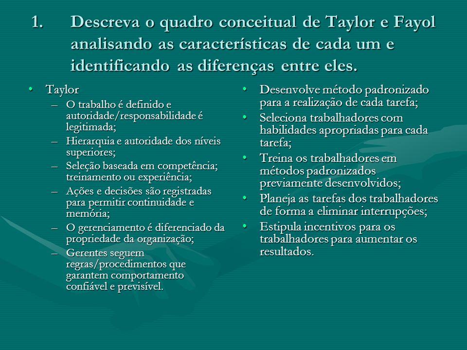 1.Descreva o quadro conceitual de Taylor e Fayol analisando as características de cada um e identificando as diferenças entre eles. TaylorTaylor –O tr