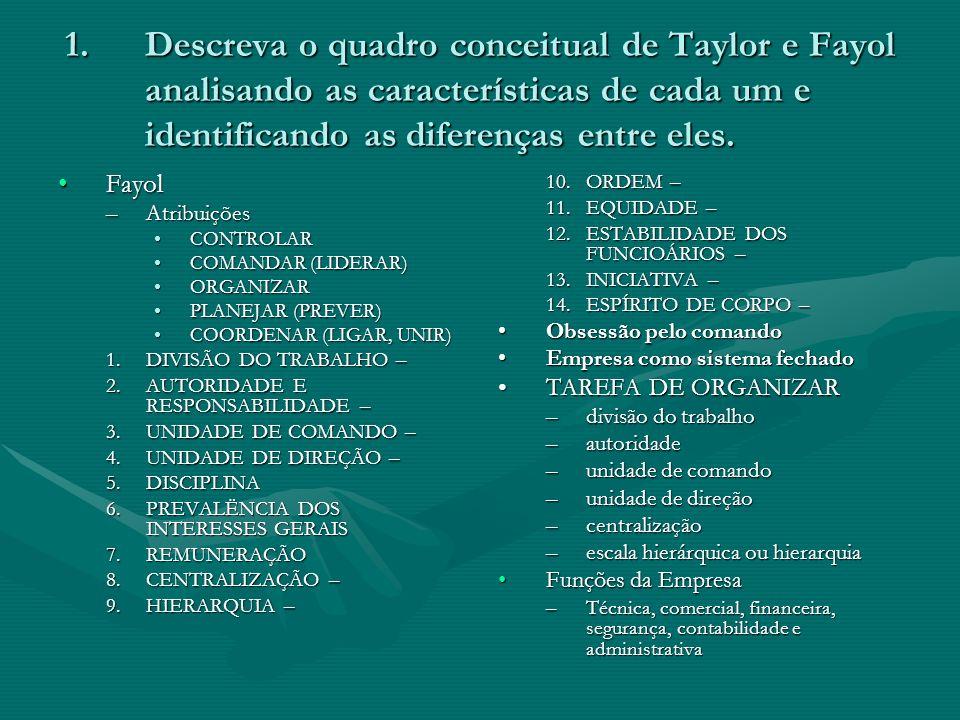 1.Descreva o quadro conceitual de Taylor e Fayol analisando as características de cada um e identificando as diferenças entre eles. FayolFayol –Atribu