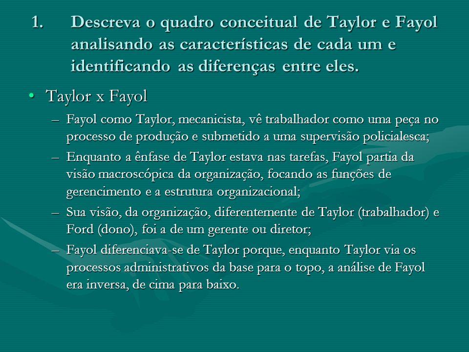 1.Descreva o quadro conceitual de Taylor e Fayol analisando as características de cada um e identificando as diferenças entre eles. Taylor x FayolTayl