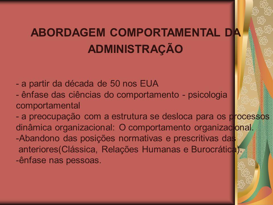 ABORDAGEM COMPORTAMENTAL DA ADMINISTRAÇÃO - a partir da década de 50 nos EUA - ênfase das ciências do comportamento - psicologia comportamental - a pr