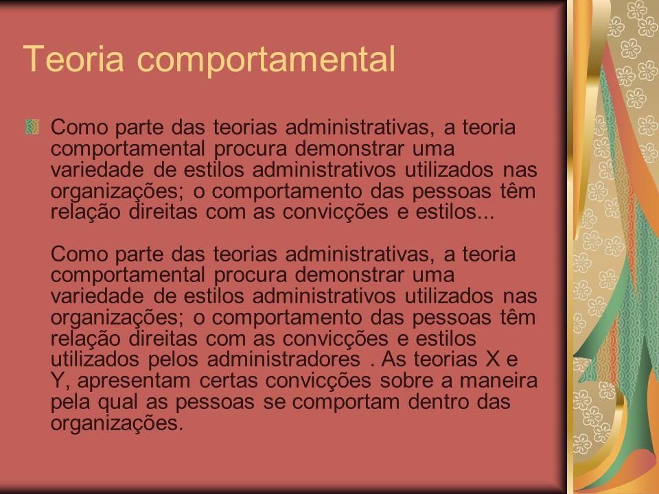 Teoria comportamental Como parte das teorias administrativas, a teoria comportamental procura demonstrar uma variedade de estilos administrativos util