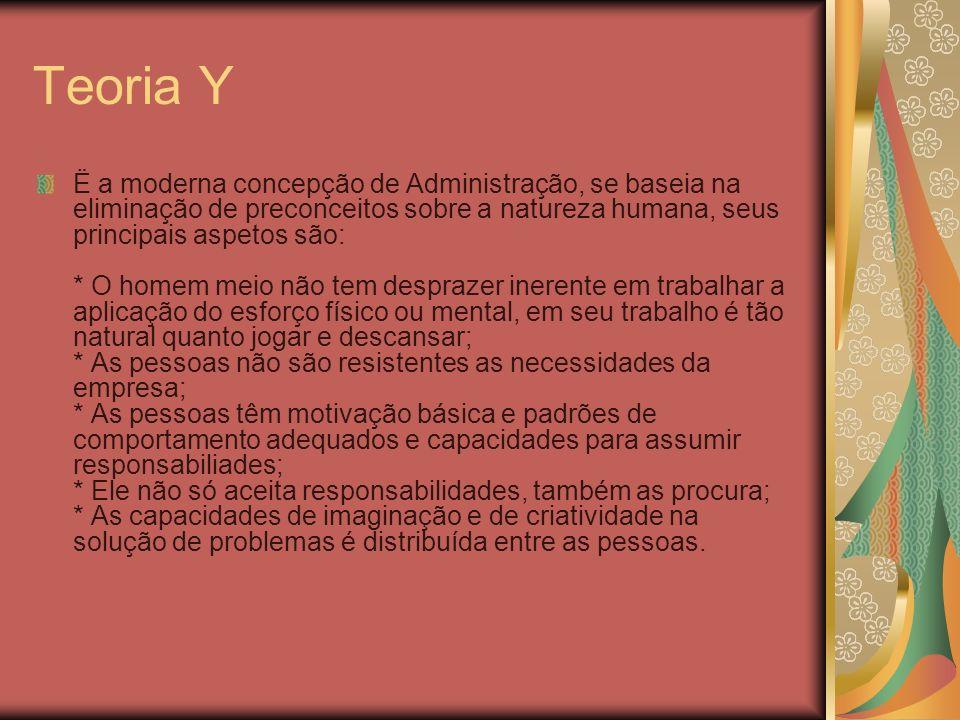 Teoria Y Ë a moderna concepção de Administração, se baseia na eliminação de preconceitos sobre a natureza humana, seus principais aspetos são: * O hom