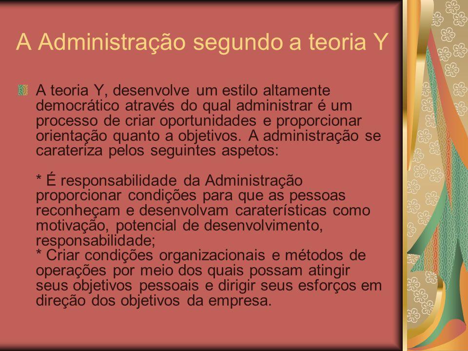 A Administração segundo a teoria Y A teoria Y, desenvolve um estilo altamente democrático através do qual administrar é um processo de criar oportunid