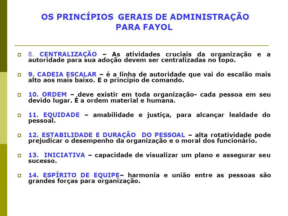 OS PRINCÍPIOS GERAIS DE ADMINISTRAÇÃO PARA FAYOL 8. CENTRALIZAÇÃO – As atividades cruciais da organização e a autoridade para sua adoção devem ser cen