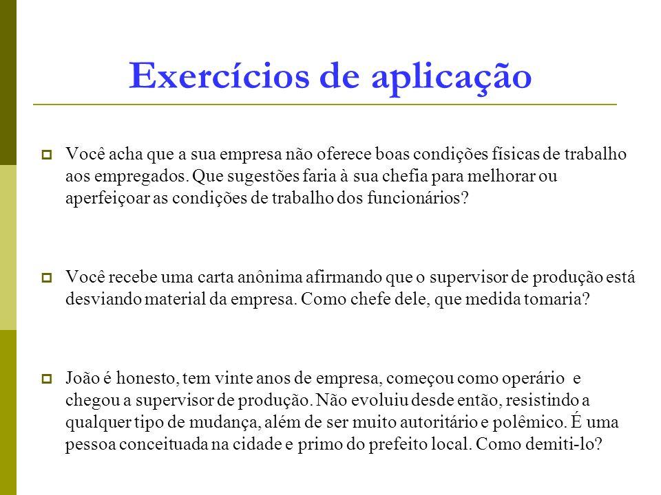 Exercícios de aplicação Você acha que a sua empresa não oferece boas condições físicas de trabalho aos empregados. Que sugestões faria à sua chefia pa