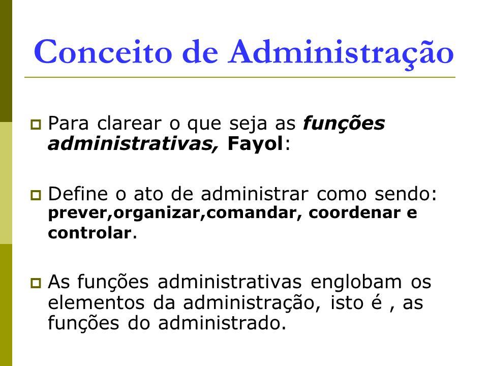 Conceito de Administração Para clarear o que seja as funções administrativas, Fayol: Define o ato de administrar como sendo: prever,organizar,comandar