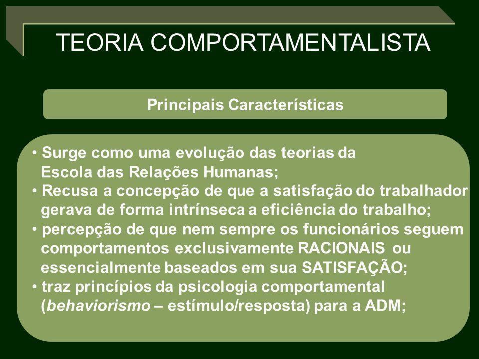 TEORIA COMPORTAMENTALISTA Principais Características Surge como uma evolução das teorias da Escola das Relações Humanas; Recusa a concepção de que a s