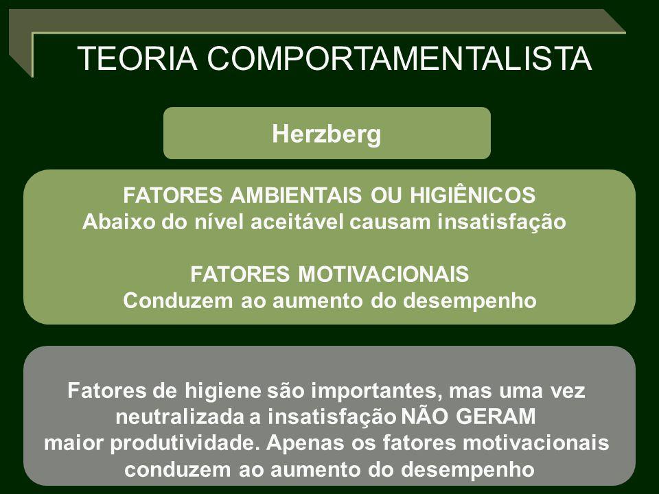 TEORIA COMPORTAMENTALISTA Herzberg FATORES AMBIENTAIS OU HIGIÊNICOS Abaixo do nível aceitável causam insatisfação FATORES MOTIVACIONAIS Conduzem ao au