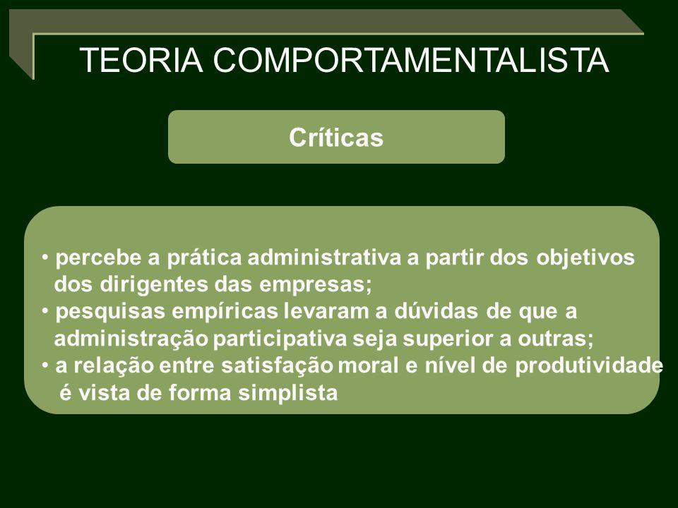Críticas percebe a prática administrativa a partir dos objetivos dos dirigentes das empresas; pesquisas empíricas levaram a dúvidas de que a administr