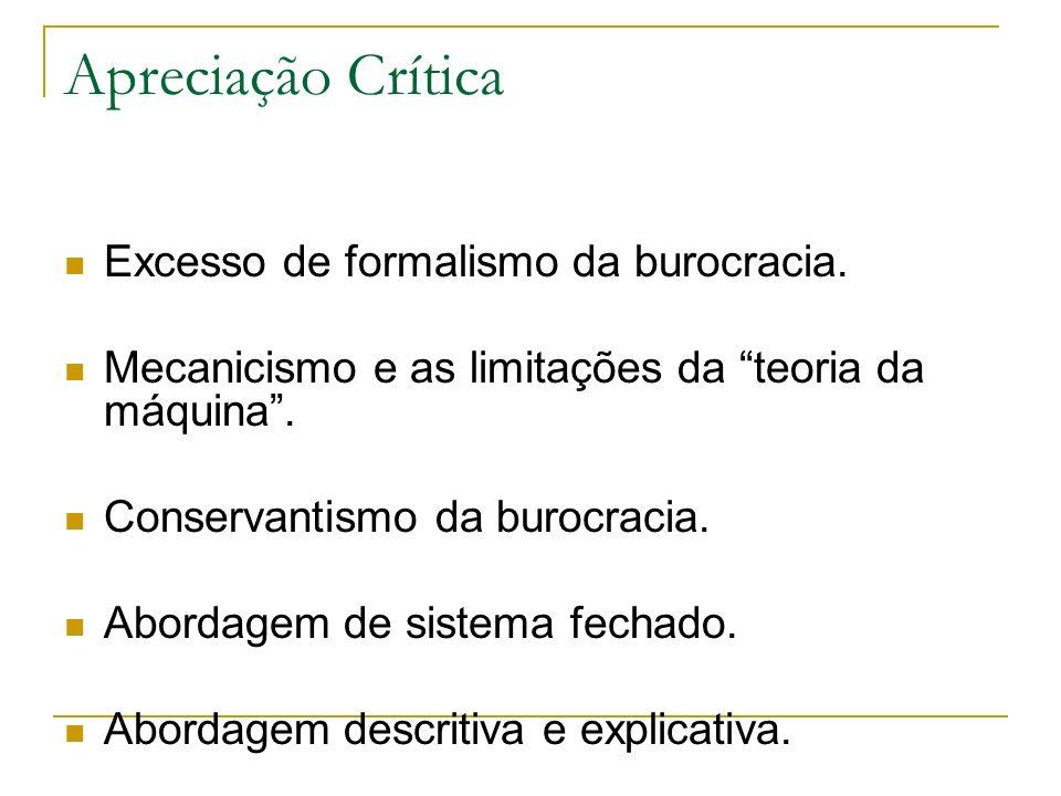 Apreciação Crítica Excesso de formalismo da burocracia. Mecanicismo e as limitações da teoria da máquina. Conservantismo da burocracia. Abordagem de s