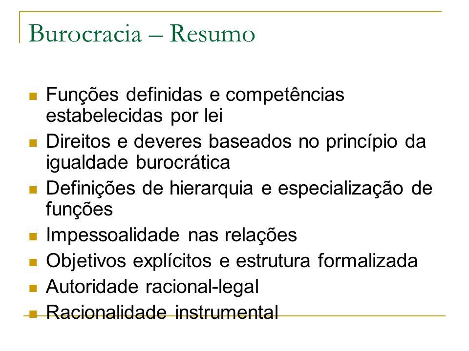 Burocracia – Resumo Funções definidas e competências estabelecidas por lei Direitos e deveres baseados no princípio da igualdade burocrática Definiçõe