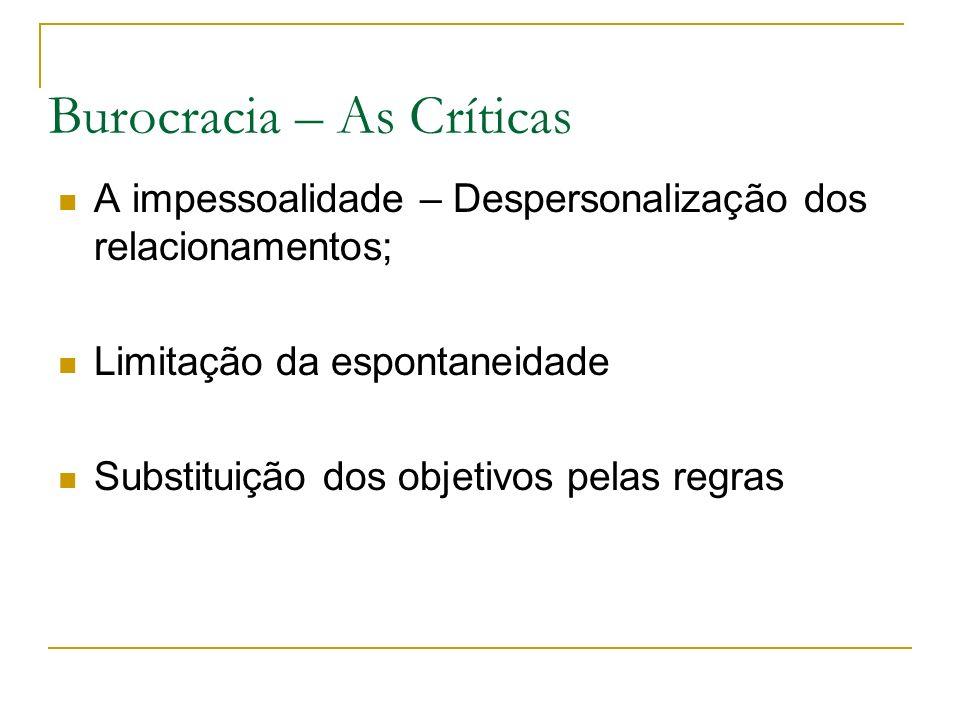 Burocracia – As Críticas A impessoalidade – Despersonalização dos relacionamentos; Limitação da espontaneidade Substituição dos objetivos pelas regras