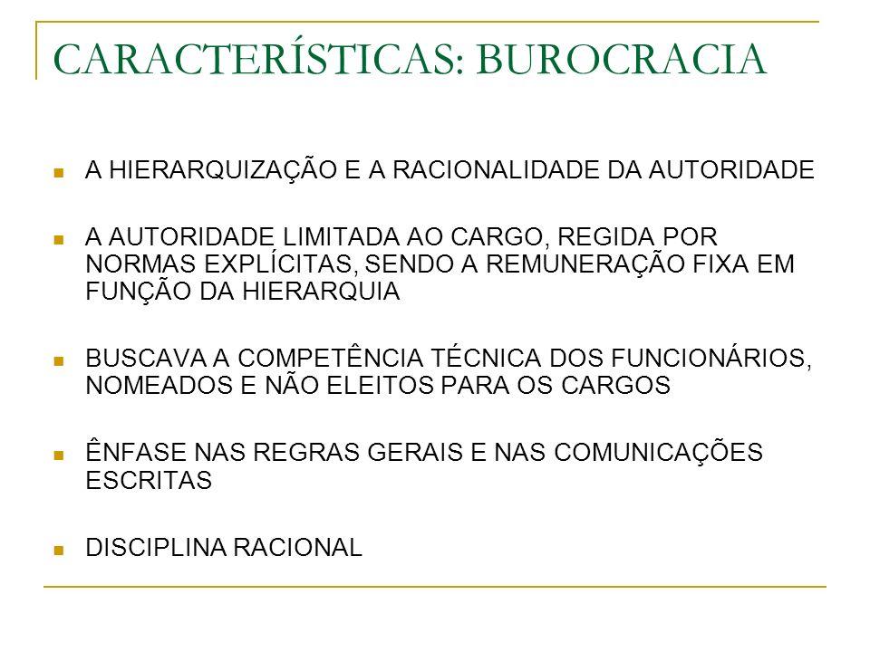 CARACTERÍSTICAS: BUROCRACIA A HIERARQUIZAÇÃO E A RACIONALIDADE DA AUTORIDADE A AUTORIDADE LIMITADA AO CARGO, REGIDA POR NORMAS EXPLÍCITAS, SENDO A REM