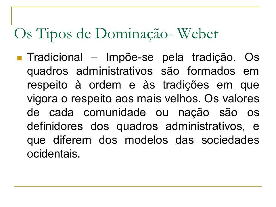 Os Tipos de Dominação- Weber Tradicional – Impõe-se pela tradição. Os quadros administrativos são formados em respeito à ordem e às tradições em que v