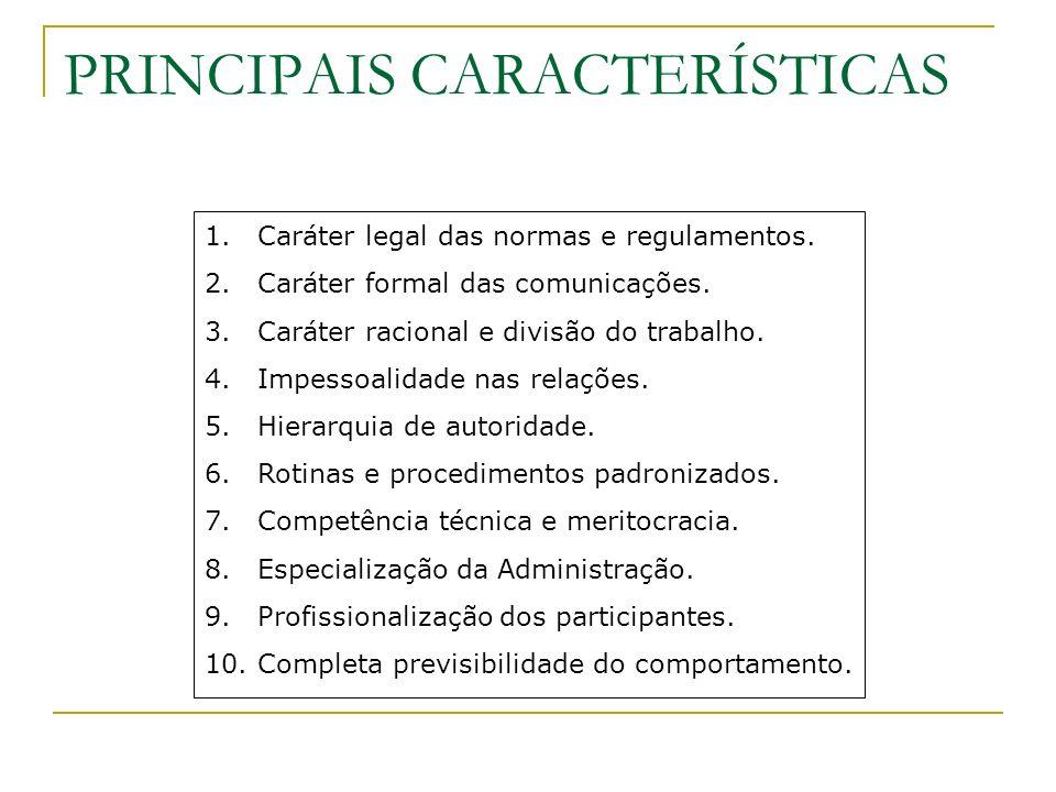 PRINCIPAIS CARACTERÍSTICAS 1.Caráter legal das normas e regulamentos. 2.Caráter formal das comunicações. 3.Caráter racional e divisão do trabalho. 4.I