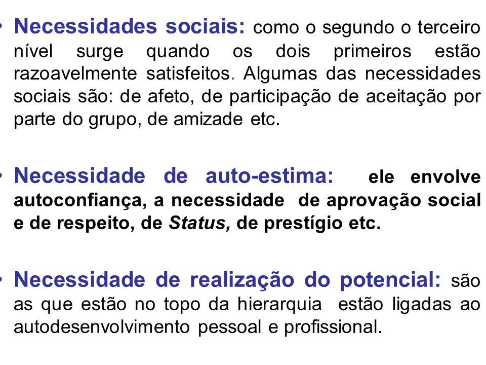 Necessidades sociais: como o segundo o terceiro nível surge quando os dois primeiros estão razoavelmente satisfeitos. Algumas das necessidades sociais