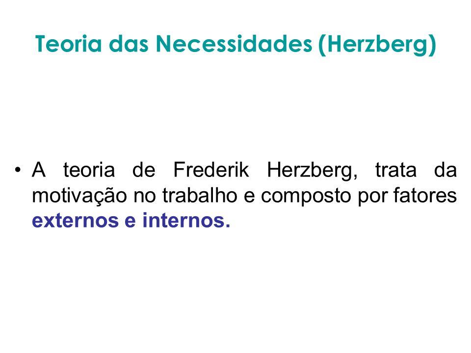 Teoria das Necessidades (Herzberg) A teoria de Frederik Herzberg, trata da motivação no trabalho e composto por fatores externos e internos.
