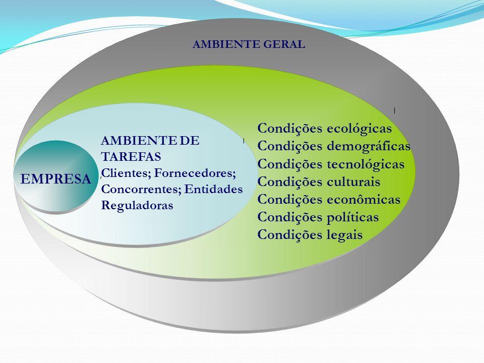 AMBIENTE DE TAREFAS Clientes; Fornecedores; Concorrentes; Entidades Reguladoras EMPRESA AMBIENTE GERAL Condições ecológicas Condições demográficas Con