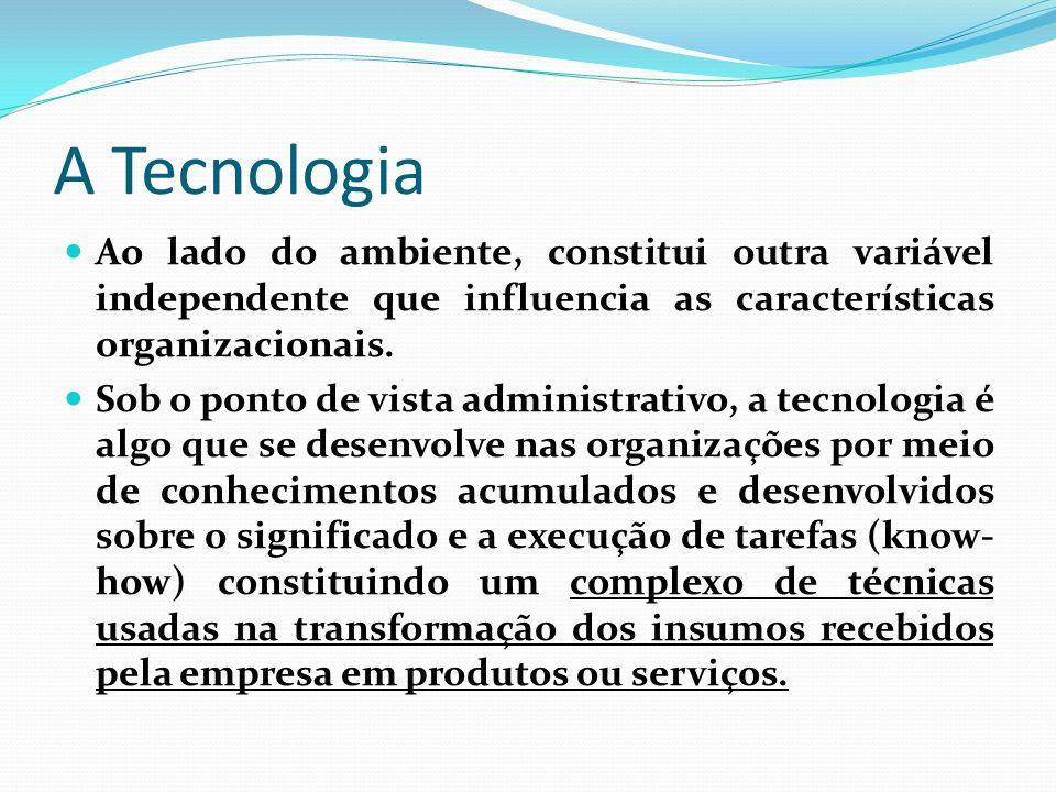A Tecnologia Ao lado do ambiente, constitui outra variável independente que influencia as características organizacionais. Sob o ponto de vista admini