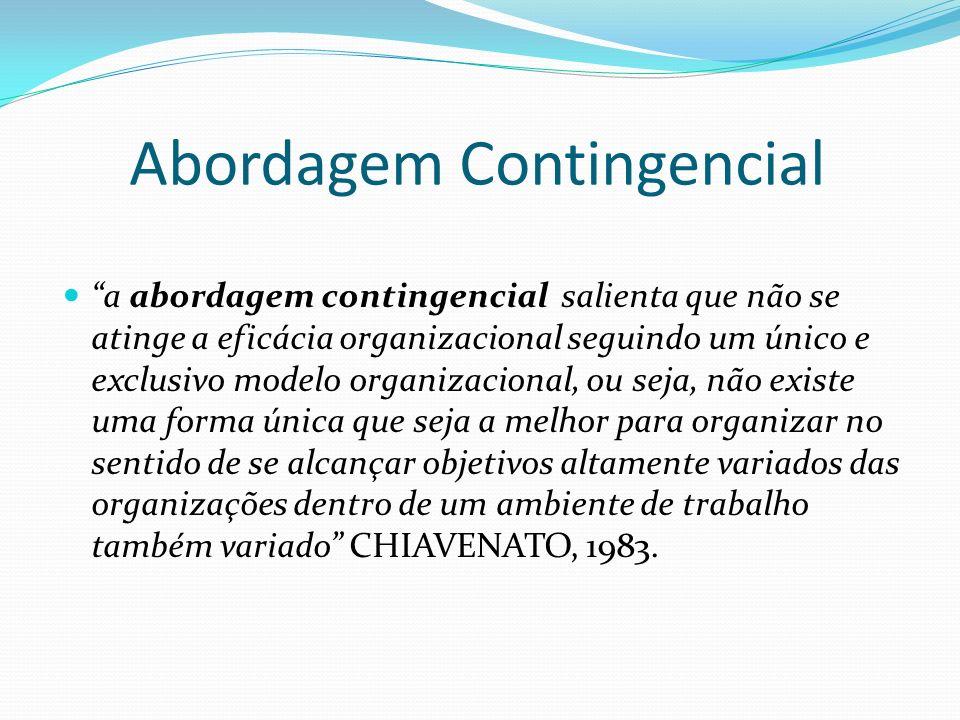 a abordagem contingencial salienta que não se atinge a eficácia organizacional seguindo um único e exclusivo modelo organizacional, ou seja, não exist