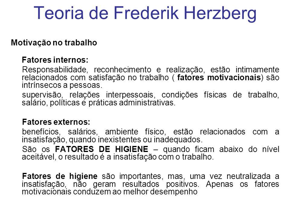 Teoria de Frederik Herzberg Motivação no trabalho Fatores internos: Responsabilidade, reconhecimento e realização, estão intimamente relacionados com