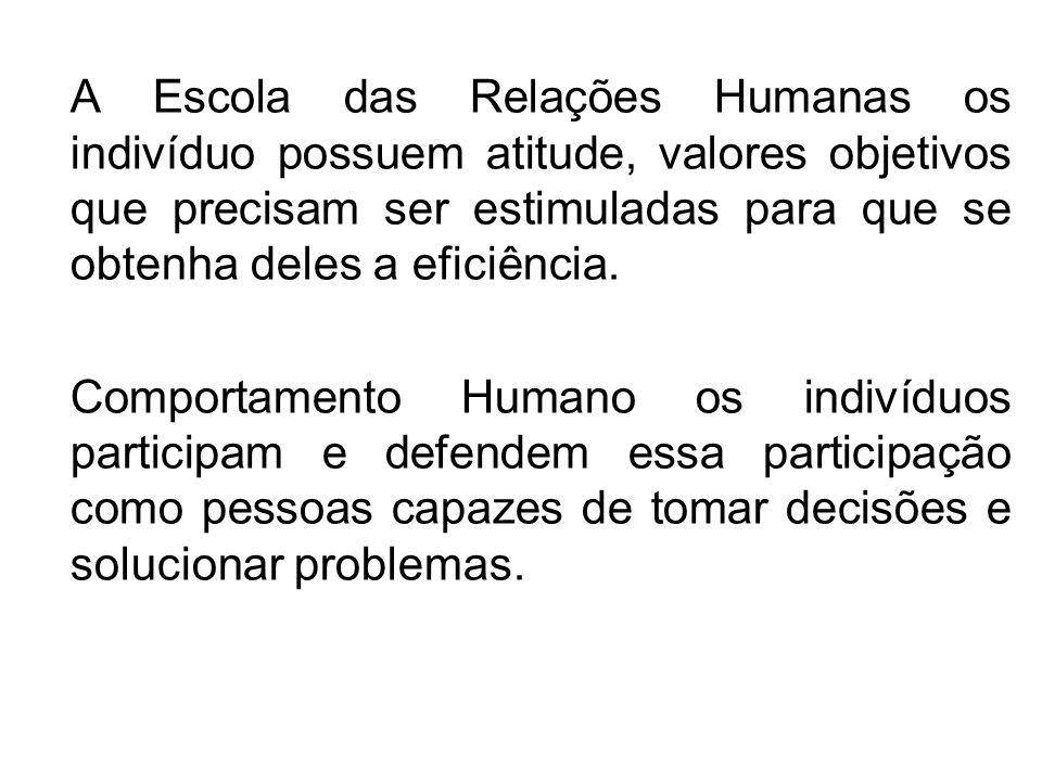 A Escola das Relações Humanas os indivíduo possuem atitude, valores objetivos que precisam ser estimuladas para que se obtenha deles a eficiência. Com