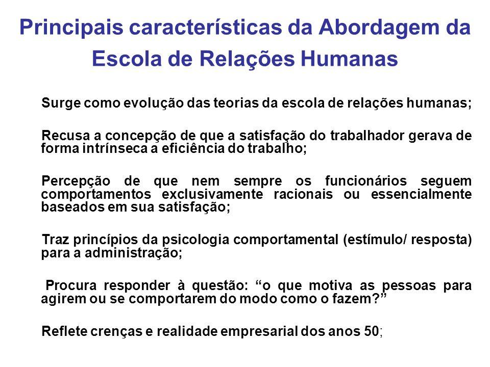 Principais características da Abordagem da Escola de Relações Humanas Surge como evolução das teorias da escola de relações humanas; Recusa a concepçã