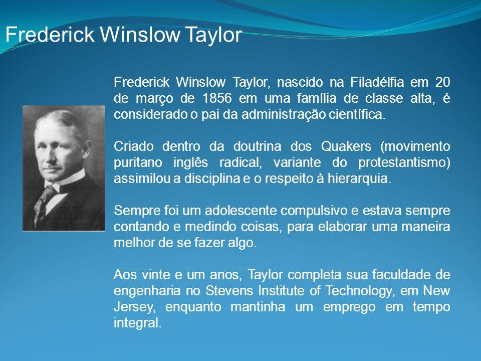 Frederick Winslow Taylor, nascido na Filadélfia em 20 de março de 1856 em uma família de classe alta, é considerado o pai da administração científica.