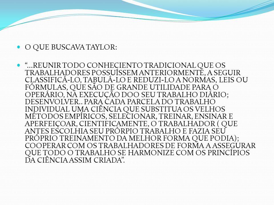 O QUE BUSCAVA TAYLOR:...REUNIR TODO CONHECIENTO TRADICIONAL QUE OS TRABALHADORES POSSUÍSSEM ANTERIORMENTE, A SEGUIR CLASSIFICÁ-LO, TABULÁ-LO E REDUZI-