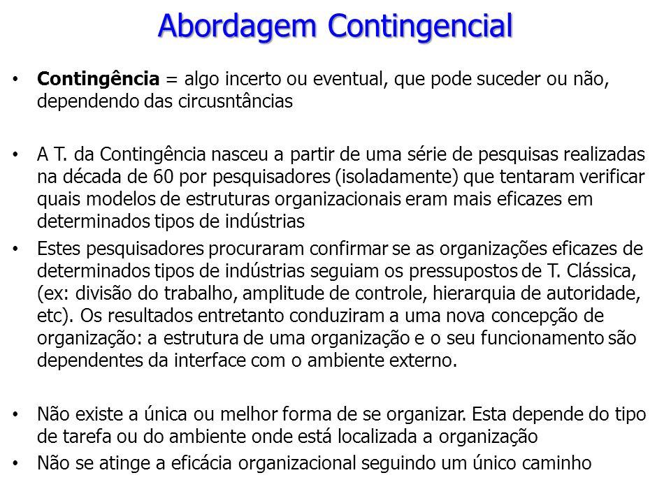 Contingência = algo incerto ou eventual, que pode suceder ou não, dependendo das circusntâncias A T. da Contingência nasceu a partir de uma série de p
